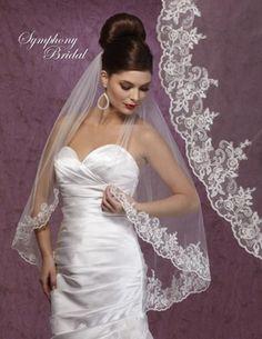 Symphony Bridal Lace Edge Wedding Veil - so elegant! affordableelegancebridal.com