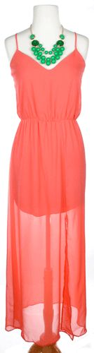 Coral maxi dress w/ green necklace