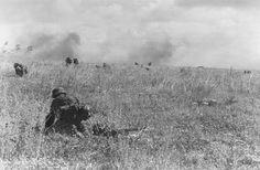 """1944, France, Caen, Des grenadiers de la 10. SS-Panzer-Division """"Frundsberg"""" attaquent les positions britanniques"""