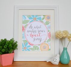 Blues/Yellows Do What Makes Your Heart Sing Quote by penandpaint, $17.50