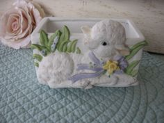 Vintage Lamb Planter Easter Planter Lamb Baby Decor by Fannypippin,