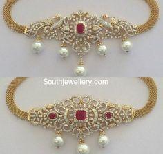 Diamond Necklace latest jewelry designs - Page 4 of 220 - Indian Jewellery Designs Diamond Choker, Diamond Bracelets, Gold Bangles, Diamond Pendant, Diamond Jewelry, Gold Jewelry Simple, Silver Jewelry, Quartz Jewelry, Vintage Jewelry