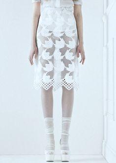 lace / socks n sandals / white