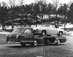 Mercedes-Benz 190SL (W121) by Auto Clasico, via Flickr  —  Rare factory image showing a W121 on top of the legendary 1955 Renntransporter, a one-off truck specially built for the Mercedes-Benz racing division.