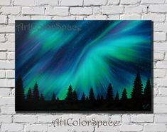 Oil painting on canvas Northern lights painting Aurora borealis Starry night…