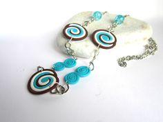 Necklace polymer clay Fimo blue. $13.00, via Etsy.