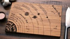 Solar System Diagram Bamboo Cutting Board by ElysiumWoodworks Woodworking Guide, Custom Woodworking, Woodworking Projects Plans, Engraved Cutting Board, Diy Cutting Board, Solar System Diagram, Wood Burning Art, Science Art, House And Home Magazine