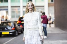 Lauren Santo Domingo in cable knit + floaty skirt in pale colors