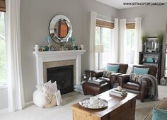 Mantel Decor Ideas Blue Taupe And White Palette Mindful GrayLiving