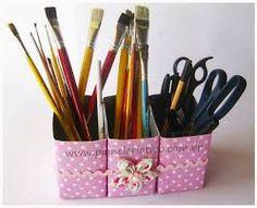 Tetra Pak, Homemade Instruments, School Organization, Recycling, Diy Crafts, Handmade, Design, Pencil Holders, Parfait