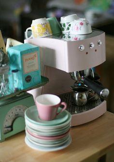 Pink coffee machine. This brings me joy just looking at it!