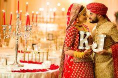 Indian Bride and Groom Wedding Day Portrait http://www.maharaniweddings.com/gallery/photo/82494