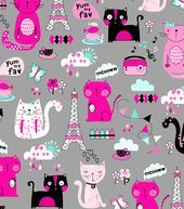 Snuggle Flannel Fabric- Parisian Kitty