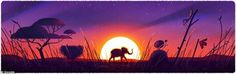 Earth Day is celebrated annually on April 22. Originally conceived by peace activist John McConnell in 1969, Earth Day as we know it was established by US Senator Gaylord Nelson a year later. The grasslands Doodle with an elephant and a sunset is pictured