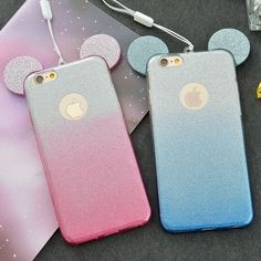New 3D Mickey Minnie Mouse Ears TPU Glitter Gradient Case For IPhone 7 6 6S Plus 5 5S SE 4 4S With Hang Rope Phone Cover Coque