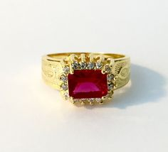 Shepherd 1 Staff Hadassah Jewelry Ring 18K Gold Layered Zirconia Ruby Ref. AN291 by HADASSAHjewelry on Etsy