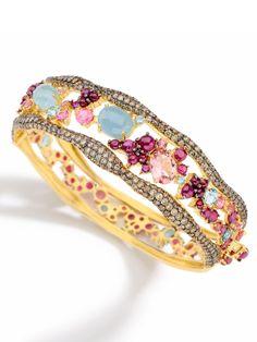 Brumani 18k Yellow Gold Mixed Gemstone Hinge Wave Bracelet. 18k Yellow Gold With Rubies(7.42cts) Aquamarine(8.10cts) Pink Tourmaline(3.66cts) And Pave Diamonds(4.16cts)