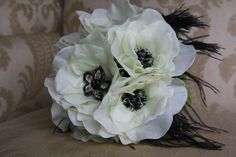 ivory and black  anemone wedding bouquet with by TheCrystalFlower