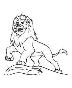 Dominate Male Lion Roaring Coloring Page