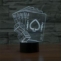 Casino Poker Dice Light 3D illusion Nightlight Table Desk Bedroom Bedside Lamp D. Casino Poker Dice Light 3D illusion Nightlight Table Desk Bedroom Bedside Lamp Decoration 5V USB Color Change Mood Lamp  2016 New Arrival 3D Table Lamp Night Light 3D Vision Poker and Dice Mood Lamp  Hot selling 1:Crazy popular special for young people; Hot selling 2:Amazing Innovative 3D illusion night lamp; Hot selling 3:Fit for Hotel/Room/Coffee bar/bar/KTV and so on; …
