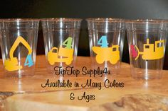 24 Construction Birthday Party 10 oz. 12 oz. or 16 oz. Cups.Traco, construction zone, dozer, heavy equipment, dump truck, boy. C-92-94 by TipTopSupply4U on Etsy https://www.etsy.com/listing/208544288/24-construction-birthday-party-10-oz-12