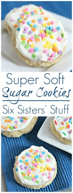 Super Soft Sugar Cookies recipe I love soft sugar cookies! That is one treat I have NO control of. When I'm pregnant, I can really eat them all day long. If you are looking for an easy sugar cookie recipe, you have got to try these cookies! Soft Sugar Cookie Recipe, Chewy Sugar Cookies, Cookies Et Biscuits, Yummy Cookies, Yummy Treats, Sweet Treats, Cookies Soft, Sugar Cookies To Decorate, Super Cookies