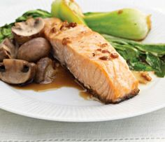 Asian Salmon with Mushrooms and Bok Choy (with Cuisinart Convection steaming oven directions): This Asian-inspired salmon is ready in just thirty minutes. A simple marinade of soy, Japanese rice wine, fresh garlic and ginger gives the roasted fish and vegetables a complex flavor you'll love and want make again