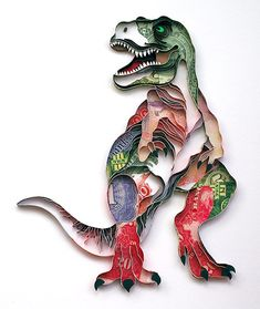 Hand quilled dinosaur by Natasha Molotkova of PaperGraphic.