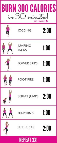 How do we know you�ll burn 300 calories? Most experts agree that the average 150-pound woman, exercising with intensity, will burn about 100 calories in 10 minutes. This 30-minute workout, if done with INTENSITY (you�re working hard enough to breathe thro 1 Yoga Tip For a Tiny Belly...