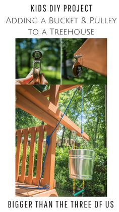 Simple DIY Pulleys for kids can be so much fun! Use this tutorial to DIY a bucket and a pulley for a treehouse. Simple DIY Pulleys for kids can be so much fun! Use this tutorial to DIY a bucket and a pulley for a treehouse. Diy Projects For Kids, Diy For Kids, Project Ideas, Tree House Accessories, Tree House Designs, Diy Tree House, Backyard Play, Outdoor Play, Forts For Kids Outdoor