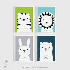 Printable Nursery Art Set of 4 Poster Bear Bunny by ARTsopoomc