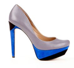 Silver blue and black pumps... Love the shade of blue