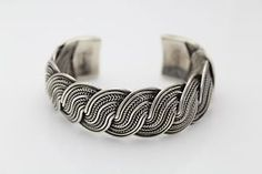 "Wide Sterling Silver Woven Braided Wheat Cuff Bali Bracelet 7"" 54 Grams  #sterling #silver #braided"