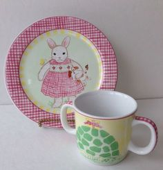 Child-Bunny-Plate-DIsh-And-2-Handle-Cup-Pink-Blue-Monkey-Kelly-B-Rightsell