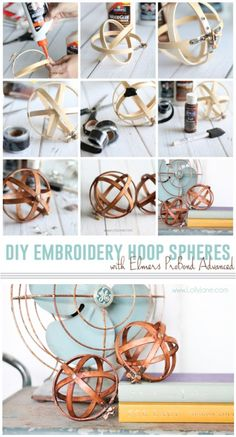 DIY Embroidery Hoop Spheres. Easiest decor you'll ever make! :) via lollyjane.com