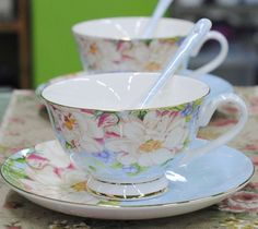 Blue Floral Tea Cup & Spoon & Saucer