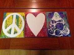 Peace, love, Buddha! Crayon art