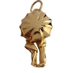 Couple Under Umbrella 14k Gold Charm