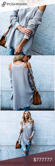 "COMING SOON!🍁Avery Cold Shoulder Thermal🍁 This is a beautiful piece that is so stylish and comfortable! Model is wearing the exact product in size small Model is 5'7"" and a size 1 Price:$59 Price Firm unless bundled with another item. Sweaters V-Necks"