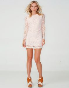 """Motel Damita Lace Mini Dress in Pastel Pink Get 20% off - use code """"laucampbell"""" at checkout!"""