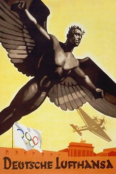 Deutsche Lufthansa - Featuring Junkers Tri-Motor Air Transport - Berlin Olympics 1936 - Vintage Travel Poster