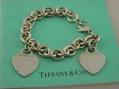 "Tiffany &Co Sterling Silver 2 Heart Tag Bracelet 7.75""inch. #TiffanyCo #Bangle"