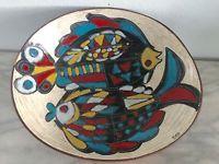 Large Fidia Italy Pottery Fish Leather Back Mid Century Modernist Bowl Fantoni