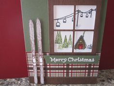 Stampin up Mountain Adventure, Hearth and home thinlites, winter wishes, and versatile Christmas sentiment.  Card made by Debbie Reed.   So much you can do with this set.