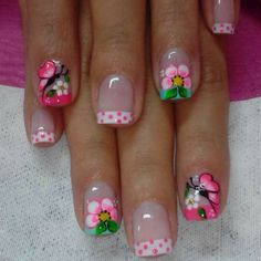 Super Fails Art Flores French Tips 20 Ideas Pedicure Designs, Nail Art Designs, Tropical Nail Designs, French Tip Nails, French Tips, Butterfly Nail Art, Beauty Brushes, Pretty Nail Art, Dope Nails