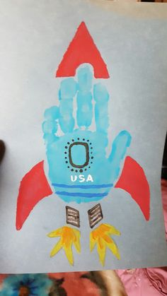 Hand print rocket NASA space ship art craft