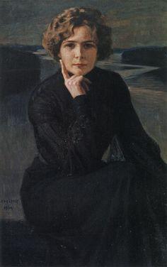 Albert Edelfelt - Näyttelijätär Elli Grahn-Niskan Muotokuva (Portrait of the Actress), 1903