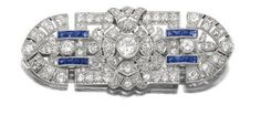 Diamond and sapphire brooch from the 1920's.