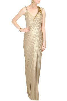 Gaurav Gupta Gold shimmer embroidered pre stitched drape sari with twisted strappy blouse Salwar Kameez, Dresser, Drape Sarees, Saree Gown, Ethnic Sarees, Latest Designer Sarees, Pernia Pop Up Shop, Indian Attire, Indian Designer Wear
