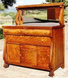 Antique Quarter Sawn Tiger Oak Buffet Sideboard Beveled